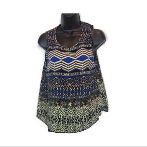 Elodie Geometric Floral Pattern Tribal Top
